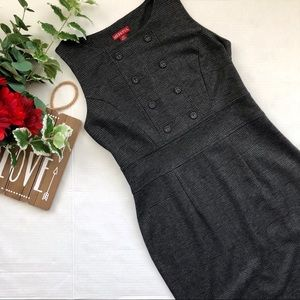Merona Sheath Dress Plaid Double Buttons Gray XS
